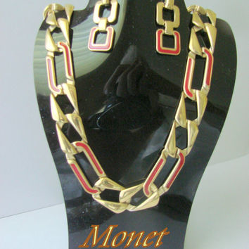 80s Monet Red Enamel Modernist Demi Parure / Necklace / Earrings / Designer Signed / Goldtone Links / Vintage Jewelry Set