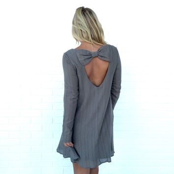 Bow Down Shift Dress In Olive