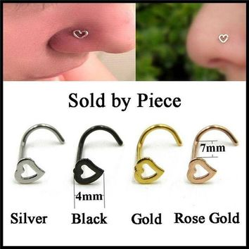 ac DCCKO2Q Fashion S Shape Punk Nose Ring Stainless Steel  Love Heart Nose Stud Piercing Surgical  Women Men Body Jewelry