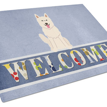 White German Shepherd Welcome Glass Cutting Board Large BB5626LCB