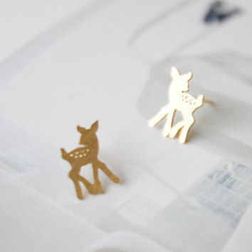 Bambi Earrings, Deer Earrings, Cute Earrings, Korean Earrings, Girls Earrings, Girlsfriend Earrings, Lover Earrings, Delicate Earrings