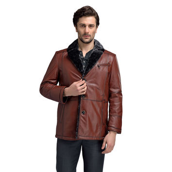 Men Pure Cow Leather Jackets Thicken Lambswool Winter Warm Brown Male Genuine Leather & Suede Fur Coats For Men