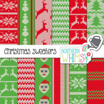 Christmas Digital Paper – ugly Christmas sweater printable papers in red & green – Christmas background - ugly sweater paper- commercial use