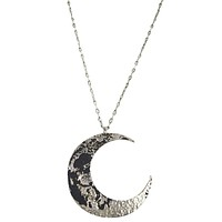 Goth Textured Antique Silver Luna Large Crescent Moon Occult Witch Necklace