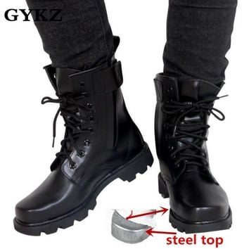 Steel Toe Military Genuine leather boots men Combat army boots work boot