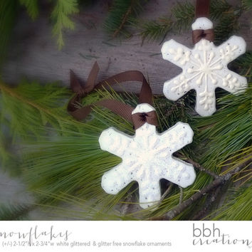 Snowflake Christmas Ornaments handmade with Natural Salt Dough