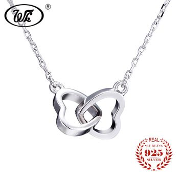 WK Tiny Heart Necklace 925 Sterling Silver Necklace Women Chain Heart Love Pendant Jewelry For Girls Trendy Gift NEW 2018 NB001