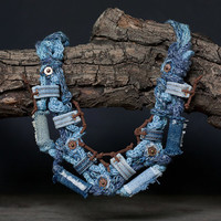 Jeans eco-friendly necklace, recycled textile jewelry, denim fiber necklace, OOAK