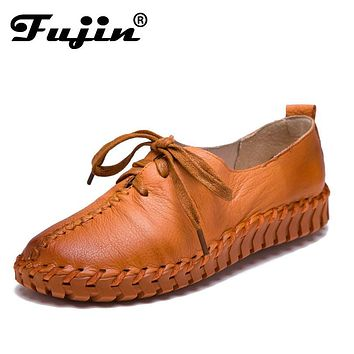 Genuine Leather Loafers Casual Platform Shoes Woman Slip On Flats Bowtie Moccasin Comfortanble Creepers Women Shoes