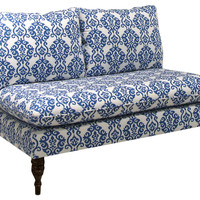 Bacall Settee, White/Blue Ogee, Settees