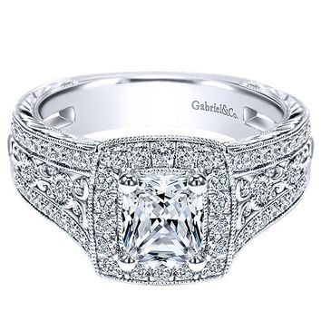 14K White Gold Cushion Halo Radiant Cut Diamond Engagement Ring
