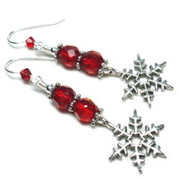 Winter Holiday Red Crystal and Snowflake Sterling Silver Earrings