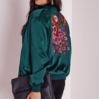 Missguided - Plus Size Oriental Embroidered Satin Bomber Teal