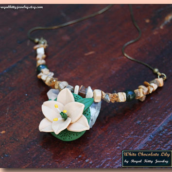 White Chocolate Lily, handmade necklace, lily flower necklace, spring flower necklace