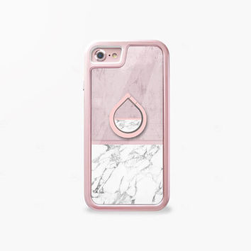 iPhone Case and Marble Print Phone Stand Ring Holder, Camera Protector, Home Button, Glass Film, Dust Plugs- The World's 1st Apple Care Pack