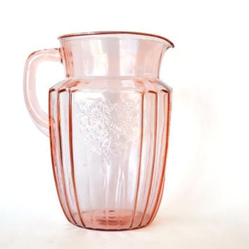 1930s Mayfair Open Rose Depression Glass Pink Large Pitcher