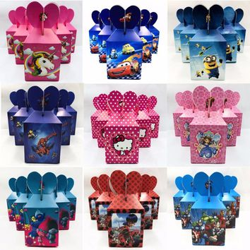 6pcs/set Mickey Minnie Trolls Princess Minions Party Supplie Kid Birthday Decoration Baby Shower Paper Candy Box Party Supplies