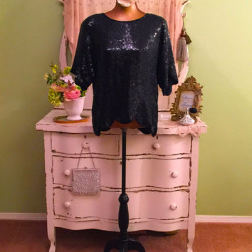 Black Sequined Top, Silk Evening Blouse, Scalloped Beaded, Large, Art Deco Style, Loose Fit Bohemian Blouse, Trophy Top, Elegant Black Top