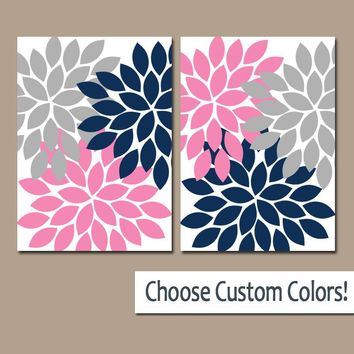 Navy Pink Gray WALL ART, Canvas or Prints, Bathroom Decor, Bedroom Pictures, Floral Nursery Art, Flower Burst Petals Set of 2 Home Decor