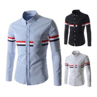 French Men's Style Slim Fit Fashion Dress Shirt