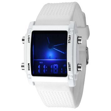 fashion sport silicone quartz watch multicolor led light digital wristwatch dual display watch analog men women waterproof
