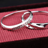 Mediterranean amorous feelings platinum Infinity ring, Wedding Couples Rings, his and hers promise ring sets, wedding rings, ring for couple