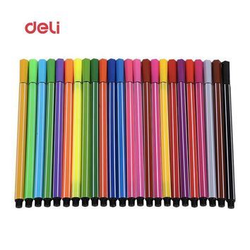 Deli 24 Colors Drawing Marker Pen art stationery Design Artist Copic Markers Sketch Set Watercolor Brush Pen Ink Liners