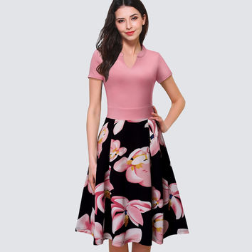 Elegant Women Floral Print Short Sleeve Work Office Business Dress Casual Summer Swing A-line Dress HA036