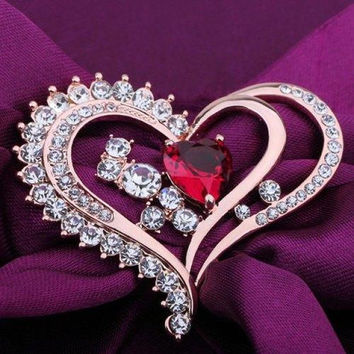 Heart Shape Rhinestone Faux Crystal Brooch