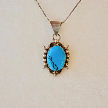 Vintage Turquoise Sterling Silver Pendant Necklace Made in Mexico Southwestern Mid Century 1950's // Vintage Sterling Silver Jewelry