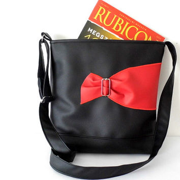 Black and red extravagant faux leather tote bag or cross body bag