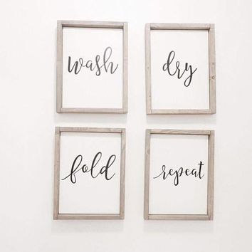 Wash Dry Fold Repeat Canvas Framed Signs
