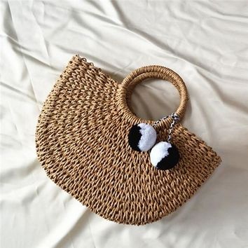 Women's Summer Handmade Straw Beach Purse with Accessory Tassels