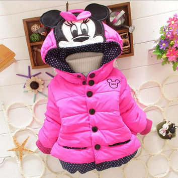 New Children Coat Minnie Baby Girls winter Coats full sleeve coat girl's warm Baby jacket Winter Outerwear Thick girl clothing