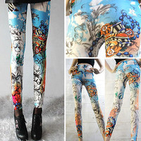 Tattoo Inspired Cloud Swirl Print Leggings- Yoga Leggings - Yoga Tights - Workout Leggings - Art Leggings - Running Leggings