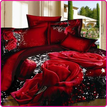 Reactive Printed 3D Bed Set 3D Bedding Set Linen Queen Bedclothes Duvet Cover Set Red Black Rose Coverlet