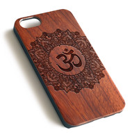 Ganesha OM Natural wood precise laser engraved iPhone 7 6 6S Plus wood case WA109
