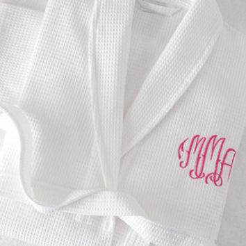 Thigh Length Monogrammed Robe Personalized Waffle Robe Bridesmaids Gifts Waffle Weave Robes