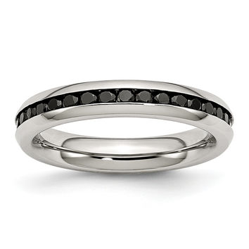 Stainless Steel 4mm Black CZ Ring