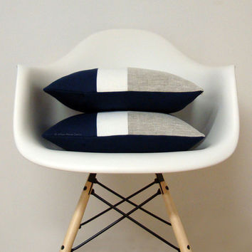 Nautical Chambray Color Block Pillow | Minimal Home Decor by JillianReneDecor | Colorblock Pillow | Navy, Cream and Sand