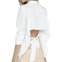 Women's White Open Back Blouse