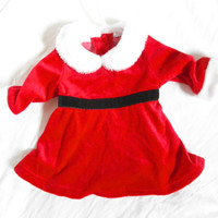 Vintage Baby Girl Christmas Santa Suit Dress Gently Used Baby Clothes Newborn Size 3 Month Red Infant Romper Tacky Christmas