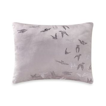 Kevin O'Brien Falling Leaves Embroidered Birds Breakfast Toss Pillow in Grey
