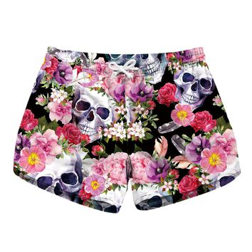 Women Casual Shorts Pink Rose Skull Painted sweet Shorts Ladies' Quick Drying Fabric Shorts