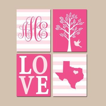 Hot Pink Nursery Wall Art, Baby Girl Decor, State Love Tree Bird, Monogram Bedroom Pictures, CANVAS or Print, Set of 4 Choose Colors