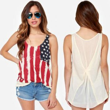 womens american flag printed tank top comfortable vest gift 85  number 1