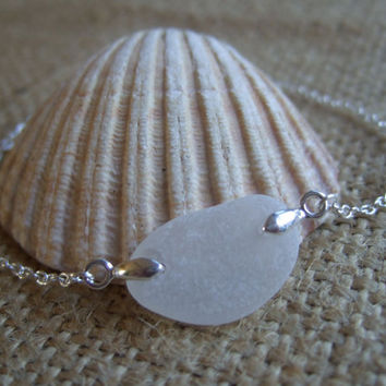 White Scottish sea glass and sterling silver bracelet, bridesmaid and bridal jewelry, white sea glass bracelet, 7'' any size custom made