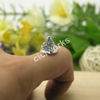 10pcs 10mmX11mm Punk Rock style Square Pyramid Spike Rivet Pave Disco beads Connector/Pendant MCC76
