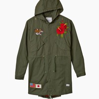 Fighting Tiger Hibiscus Parka Jacket in Forest Green