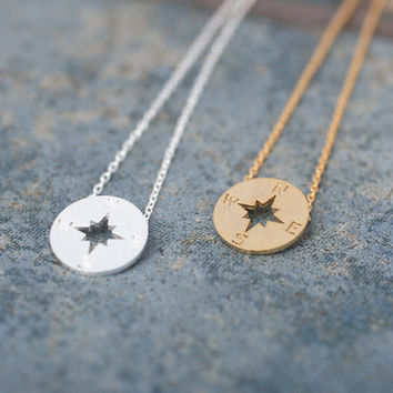 Tiny Compass disc necklace. Choose your color. Gold or Silver. DoubleBJewelry. DoubleB. Double B.